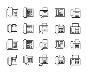 Vector line icons collection of fax.