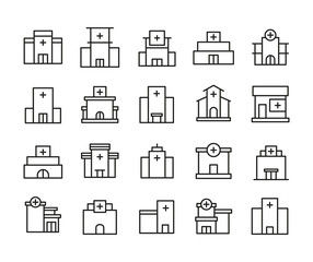 Vector line icons collection of hospital.