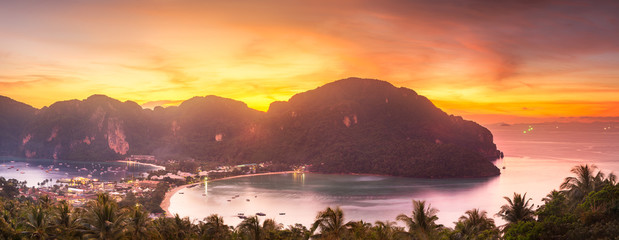 Aerial view of Phi-phi island during purple sunset