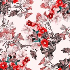 Petunia with geraniaflowers, seamless pattern.