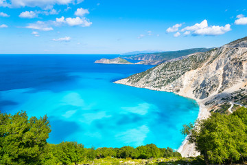 Beautiful landscape of Myrtos beach - Kefalonia, Ionian Islands - Greece