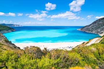 Beautiful landscape of Myrtos beach - Kefalonia, Ionian Islands - Greece