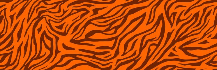 Tiger stripes pattern, animal skin, line background.  Wild life wallpaper. Vector seamles texture.