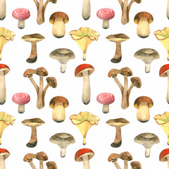 Watercolor seamless pattern with mushrooms, fall leaves, pumpkies, branches, berry and other plants. Natural autumn forest background ideal for baby fabric and wrapping paper
