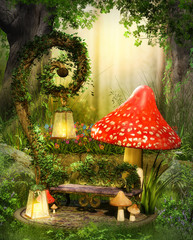 Enchanting fairy lounge bench in a deep magical forest.
