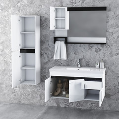 Modern bathroom interior and bathroom furniture set with bathroom accessories. 3d rendering and design. 3d rendering