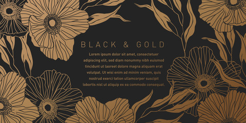 Black and Gold Botanical Background
