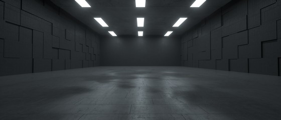 3d rendering of a futuristic dark concrete underground space with lights