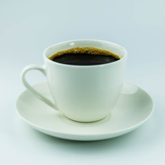 The cup of black coffee isolated on white background