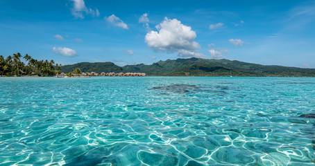 Lagoon landscape in Moorea, French Polynesia, South Pacific.