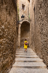 narrow streets of the old town, Girona Spain