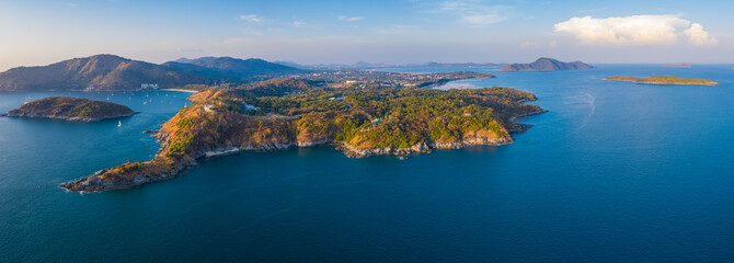 Aerial panorama of the Promthep cape - southernmost tip of the island of Phuket, Thailand