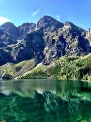 Lake Against Rocky Mountains