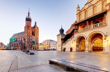 Historic Krakow Market Square in the Morning, Poland
