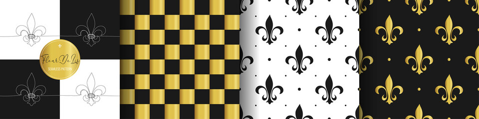 Set flower heraldic lily texture. Cell white, golden seamless pattern. Fleur de lis royal symbol textile print. Vintage black and white wallpaper bathroom decor ornament. Vector illustration