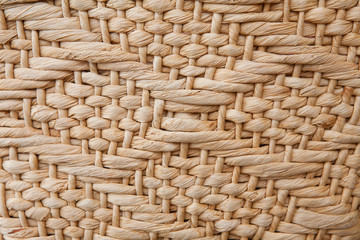 Handmade straw bag texture with geometric pattern