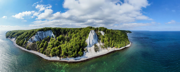 Panorama view of the Koenigsstuhl or Kings Chair and Victoria´s View / Ruegen (Rügen) Chalk Cliffs in the Jasmund National Park in the Baltic sea (Germany, Europe) Island of Ruegen