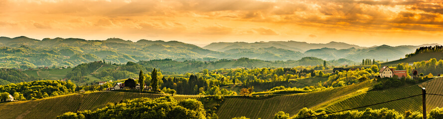 Panoramic view at famous wine street in south styria, Austrian destination, tuscany like vineyard hills.