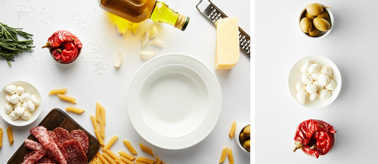 Collage of plate, bottle of olive oil, meat platter, grater, pasta and bowls with ingredients on white, panoramic shot