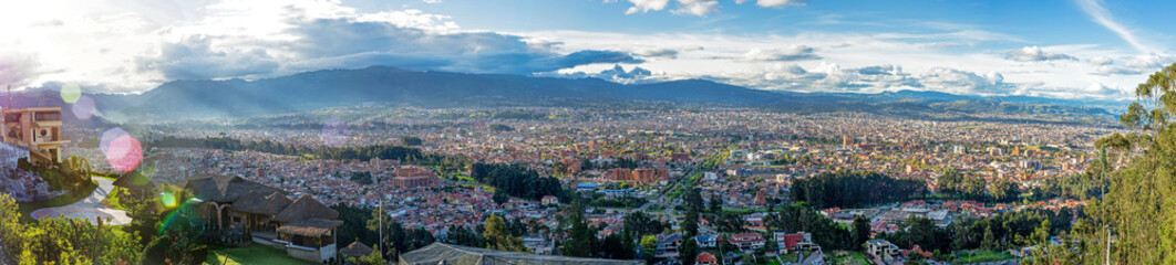 Panoramic view of the city of Cuenca, Ecuador, close to sunset, from an observation point.