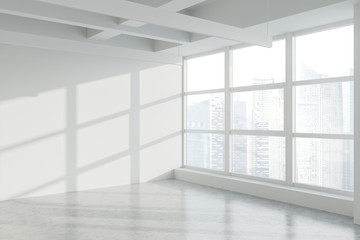 Blank wall in empty white industrial office corner