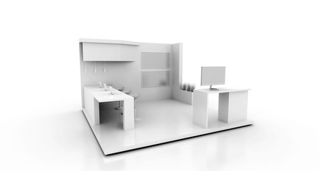 Corporate booth, isolated on white, with copy space. Original 3d rendering