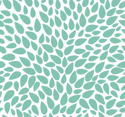 Seamless leaves pattern isolated. Background of green leaves chaotically scattered. For labels, packaging or fabric.