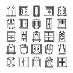 window icons set line theme design