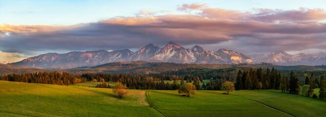 Beautiful spring sunset at Tatra mountains in Poland - panorama