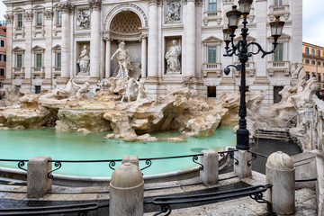 Trevi Fountain (Fontana di Trevi) in raining day in Rome, Italy.