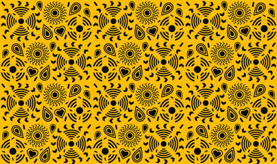 vector abstract background with yellow circles, drops, hearts, flowers, seamless yellow wallpaper pattern background, with memphis design elements and geometric shapes in yellow and black colors
