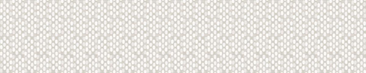 Seamless linen border pattern. Neutral cream flower blooms stripe background. Elegant minimal off white beige banner. Stylish striped ribbon trim