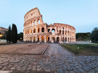 Coliseum in Rome without people at the sunset