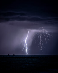 Dramatic Lightning Storm on the Great Plains During Springtime