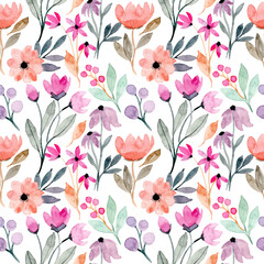 colorful wild floral watercolor seamless pattern