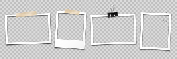Realistic empty photo card frame, film set. Retro vintage photograph with transparent adhesive tape and paper clip. Digital snapshot image. Template or mockup for design. Vector illustration.