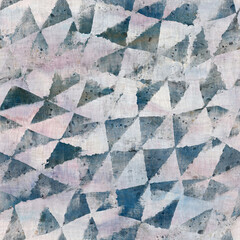 Seamless wet-on-wet blue watercolor wash grungy wet painted geometric triangle shape graphic design. Seamless repeat raster jpg pattern swatch.