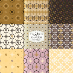 Set of seamless patterns with hearts and curls ornament backgrounds