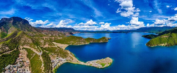 Panoramic shot of Daluoshui Village and Lugu Lake in Lijiang city, China