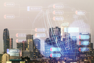 Multi exposure of abstract programming language hologram and world map on Los Angeles office buildings background, artificial intelligence and neural networks concept