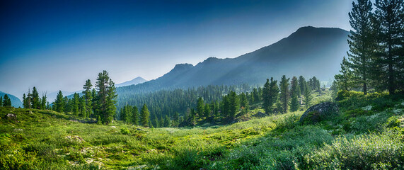 mountain range and evergreen trees, Khamar-Daban, Siberia, Russia, national park