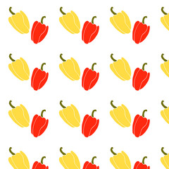 Yellow and red pepper vector pattern fresh organic food ingredient on green wallpaper cook texture vegetable graphic