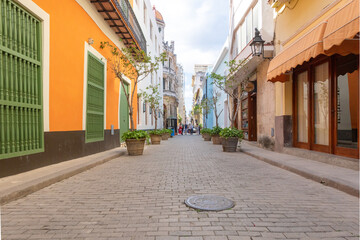 Colonial cobblestone street in Old Havana, Cuba. This area is a Unesco World Heritage Site