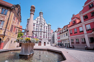 Architecture of Memmingen. The fountain in old town.