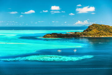 Bora bora Tahiti travel honeymoon destination luxury resort holiday aerial landscape in French Polynesia. Blue