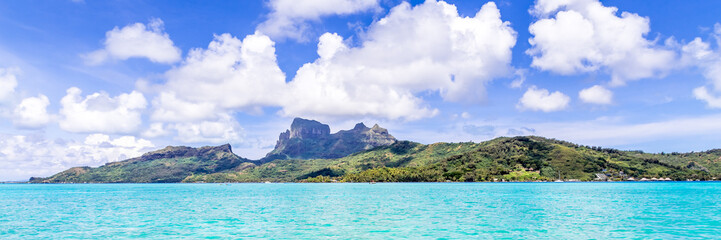 Bora Bora Island, French Polynesia. Web banner in panoramic view.