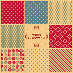 Set of Christmas seamless patterns for wrapping paper. Hand drawn Christmas backgrounds. Vector illustration