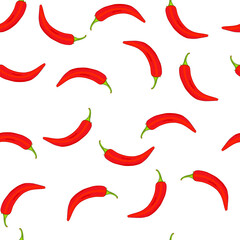 Chili peppers seamless pattern. Texture with small red hot chile peppers on white background. Cartoon paprika for eco food backdrop, wallpapers, packaging and apparel design. Stock vector illustration