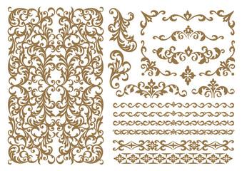 set of decorative elements for design. vintage ornament set. borders and frames.