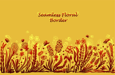 Background with seamless border in floral style brown on beige for banner or card or for decoration different things